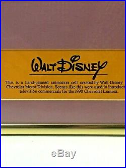 HAND PAINTED ANIMATION CELL DAISY DUCK WALT DISNEY for CHEVROLET FRAMED withMat