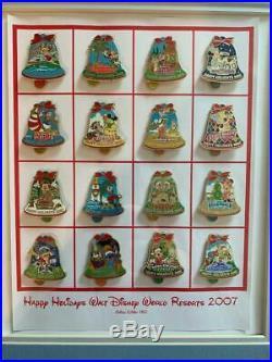 Happy Holidays Walt Disney World Resorts Christmas Bell Framed 16 Pin Set Custom