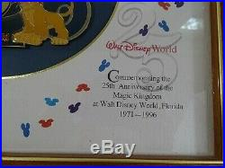 LE OLD Walt Disney World 25th Anniversary Framed Set Mickey Goofy Tinker Simba +