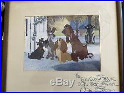 Lady & the Tramp Framed Rare Photo Signed By Walt Disney