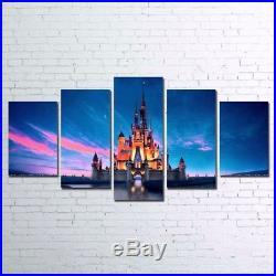 Large Framed Walt Disney World Castle Canvas Wall Art Home Decor Five Piece