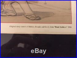 Lot 4 framed original Disney Story Sketches 1938-40 Mickey Minnie Pluto vintage