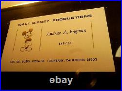 MICKEY MOUSE ANDY ENGMAN WALT DISNEY PENCIL DRAWING SINGED WithCARD FRAMED RARE