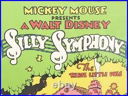 MICKEY MOUSE Picture Serigraph SILLY SYMPHONY Three Little Pigs Framed 1980's