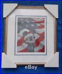 MICKEY SALUTES AMERICA FRAMED LITHOGRAPH 17-1/2 x 15-1/2