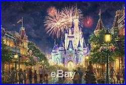 Main Street USA Walt Disney World Thomas Kinkade 12x16 Canvas Framed Burl Frame
