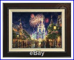 Main Street USA Walt Disney World Thomas Kinkade 12x16 Canvas Framed Espresso