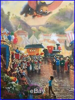 New Thomas Kinkade Walt Disneys Dumbo Deluxe Framed