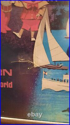 Orig Eastern Airlines LOGO Travel Agent Frame w 1979-80 Walt disney poster