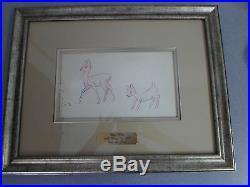 Original 1937 Walt Disney Snow White Pre Cel Deer & Fawn Graphite Framed Drawing