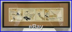 Original Comic Strip Art Signed Donald Duck Walt Disney By Al Taliaferro Frame