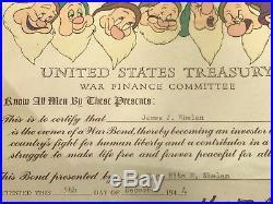 Original WWII Walt Disney Framed US Treasury War Bond Certificate