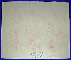 Original Walt Disney Model Drawing of Captain Hook from Peter Pan inCustom Frame