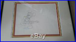Original Walt Disney Production Drawing Cel Frame Mickey Mouse with Guitar COA