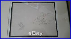 Original Walt Disney Production Drawing Cel Framed Baby Mickey Mouse & Dumbo COA