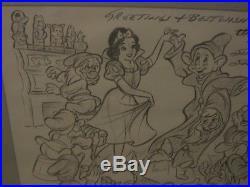 Original Walt Disney Snow White Cartoonist Sketch Signed Dated Pro Framed Rare