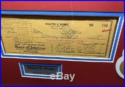 PSA/DNA Authentic Walt Disney Autographed Check Signed And Framed