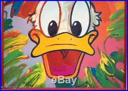 Peter Max Signed Walt Disney Donald Duck Limited Edition Fine Art Serigraph NICE