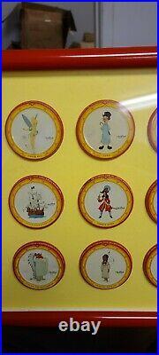 Peter Pan Peanut Butter 1953 Lids Walt Disney Characters Lot of 12 Framed