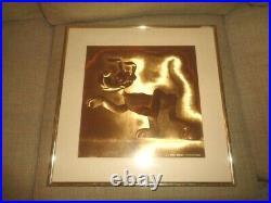 Pluto Dog Picture Gold Frame Golden Glow Foil Walt Disney Productions VTG RARE