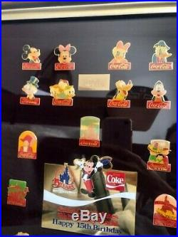 RARE Coca-Cola For Walt Disney World's 15th Birthday 60-Pin Framed Set'86