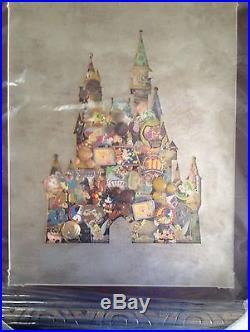 RARE Disney Authentic Cinderella Castle Collage Framed Pin Set Unique