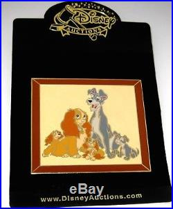 RARE LE100 JUMBO Disney Auctions Pin Lady & Tramp with Pups Masterpiece Framed