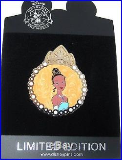 RARE LE 125 Disney PinPrincess Frog Tiana Gold Pearl Medallion Designer Frame