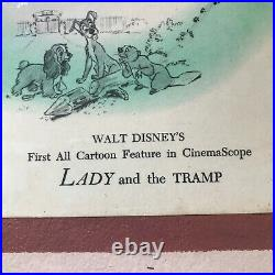 RARE Vintage Framed Lithograph Lady And The Tramp By Walt Disney