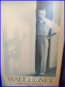 RARE WALT DISNEY WITH HIS MICKEY MOUSE SHADOW ART ONE IMAGES FRAMED 26 x 48