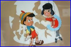 RARE Walt Disney Studios Animation Pinocchio & Marrionette Framed