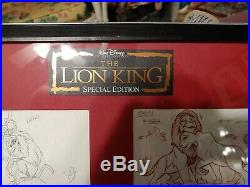 RARE Walt Disney The Lion King 4 Animation Artist Pencil Drawings Signed Framed
