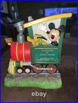 RARE Walt Disney World Railroad Book Ends Mickey Pluto & Goofy-Picture Frames