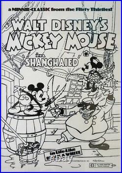 RARE Walt Disney's Mickey Mouse In Shanghaied Vintage Poster 1970s- Disneyland