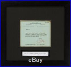 Rare 1956 Walt Disney Signed Memo Complete With High End Frame