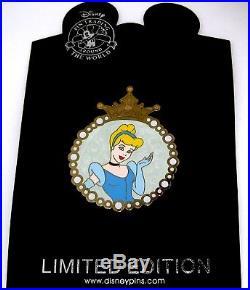 Rare LE 125 Disney PinCinderella Pearl Medallion Frame Gold Crown Pearlized HTF