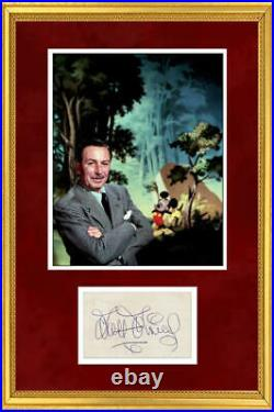 Rare Walt Disney Signed Autograph Display, Framed. JSA