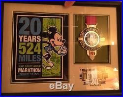 SALE RARE Walt Disney World 2013 Marathon 20th Anniversary Framed Print withMedal