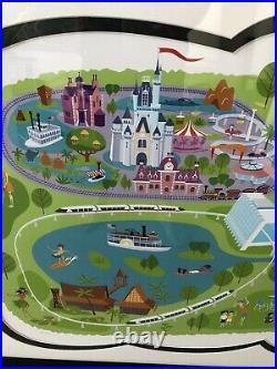 SHAG Walt Disney World Park Map 40th Anniversary LE Limited WDW Framed Serigraph
