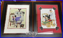 Set Of Two Walt Disney And Mickey Mouse Self-portraits Framed Charles Boyer