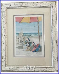 Signed David E Doss Mickeys Dance Walt Disney Beach Bucket Art Framed Exclusiv