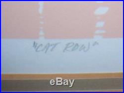 Signed Roy Williams Lithograph Titled Cat Row 1982 Walt Disney Sailboats Dock
