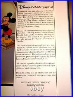 Team Disney cel CAL ARTS Sericel Mickey Goofy Donald Back Stage NEW FRAME 1991
