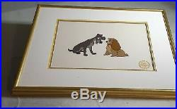 The Walt Disney Co 1955 Serigraph from original Lady and The Tramp framed Art
