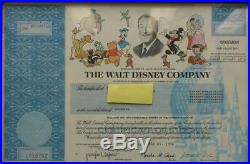 The Walt Disney Company 1998 Stock Certificate 1 Share Framed