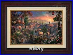Thomas Kinkade Studios Lady & the Tramp 18x27LE Canvas G/P (Burl Frame) Disney