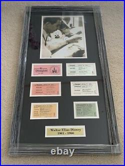 VINTAGE 1970's WALT DISNEY MEMORABILIA FRAMED TICKETS SET A-E PRISTINE
