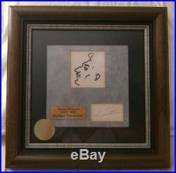 Vincent Price signed sketch self-profile + autograph Wood Framed Walt Disney