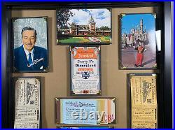 Vintage Disneyland Framed Ticket Book A-E Santa Fe Railroad Walt Disney Postcard