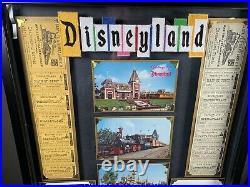 Vintage Disneyland Santa Fe Railroad 1950s Ticket Walt Disney Framed Postcard